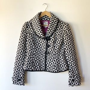 Tulle black and white retro inspired jacket Small
